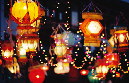 Light lanterns at Mid-autumn festival